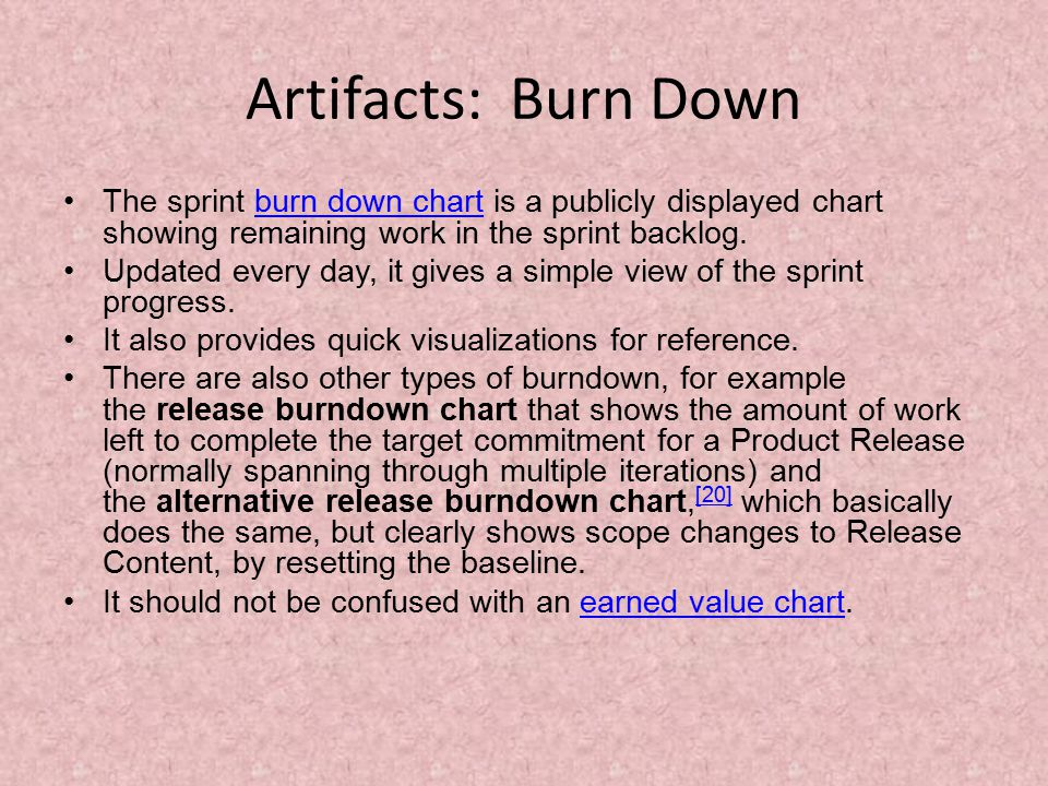 Artifacts: Burn Down The sprint burn down chart is a publicly displayed chart showing remaining work in the sprint backlog.burn down chart Updated every day, it gives a simple view of the sprint progress.