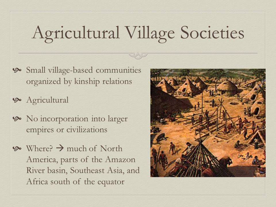 Agricultural Village Societies  Small village-based communities organized by kinship relations  Agricultural  No incorporation into larger empires or civilizations  Where.