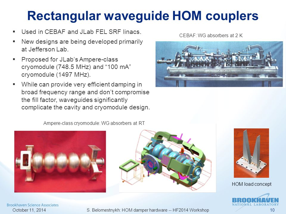 Rectangular waveguide HOM couplers October 11, 2014 S.