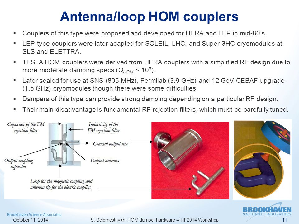 Antenna/loop HOM couplers October 11, 2014 S.