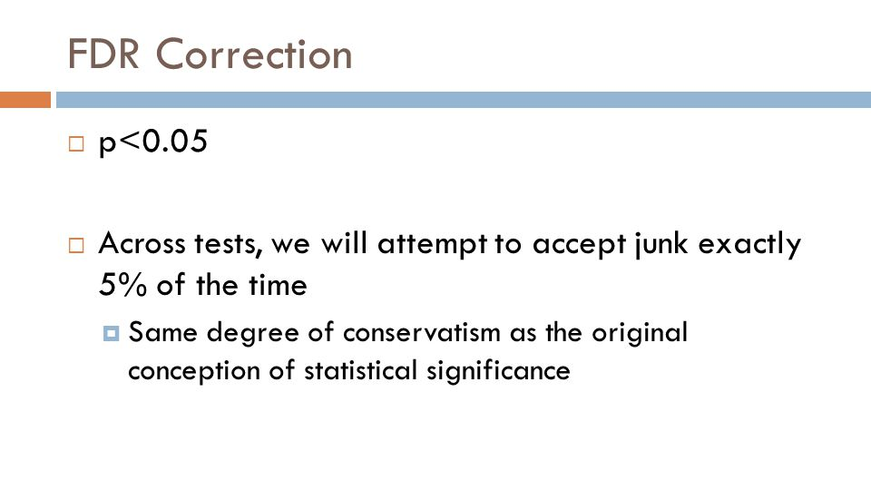 FDR Correction  p<0.05  Across tests, we will attempt to accept junk exactly 5% of the time  Same degree of conservatism as the original conception of statistical significance