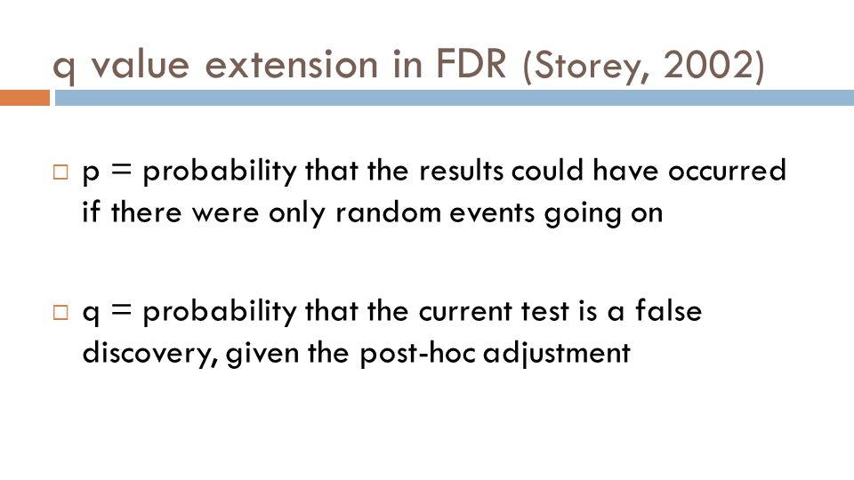  p = probability that the results could have occurred if there were only random events going on  q = probability that the current test is a false discovery, given the post-hoc adjustment