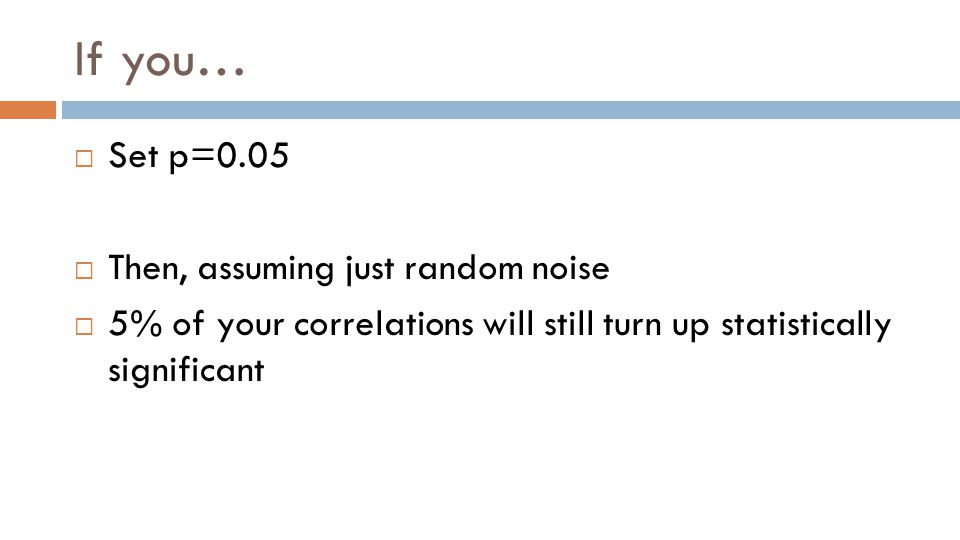 If you…  Set p=0.05  Then, assuming just random noise  5% of your correlations will still turn up statistically significant