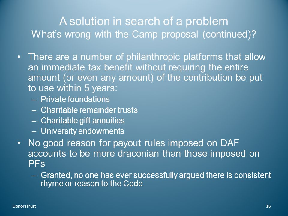 A solution in search of a problem What's wrong with the Camp proposal (continued).