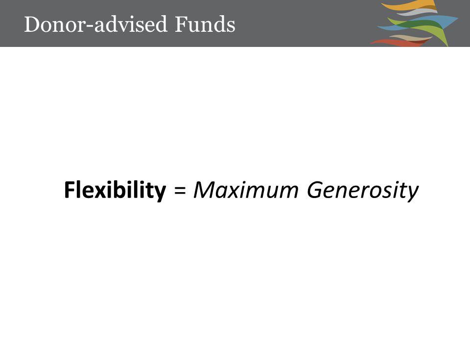 Flexibility = Maximum Generosity Donor-advised Funds
