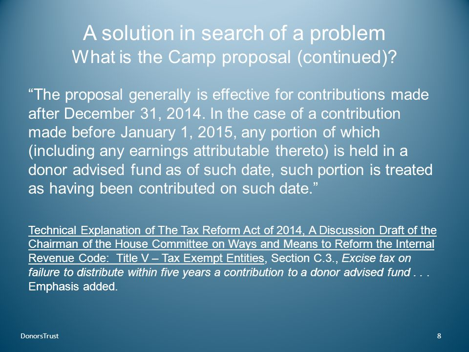 A solution in search of a problem What is the Camp proposal (continued).