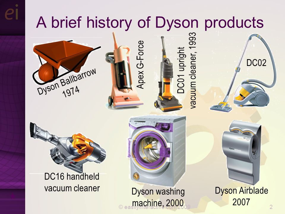 © easilyinteractive.com 20092 A brief history of Dyson products * Dyson Ballbarrow 1974 DC01 upright vacuum cleaner, 1993 DC16 handheld vacuum cleaner Apex G-Force DC02 Dyson Airblade 2007 Dyson washing machine, 2000