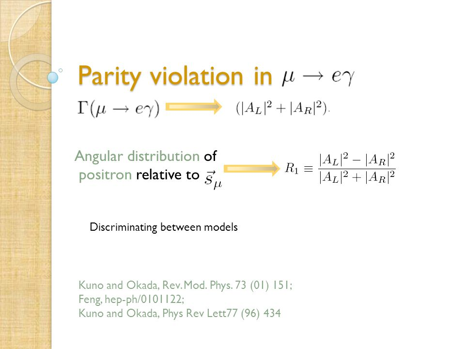 Parity violation in Angular distribution of positron relative to Kuno and Okada, Rev.
