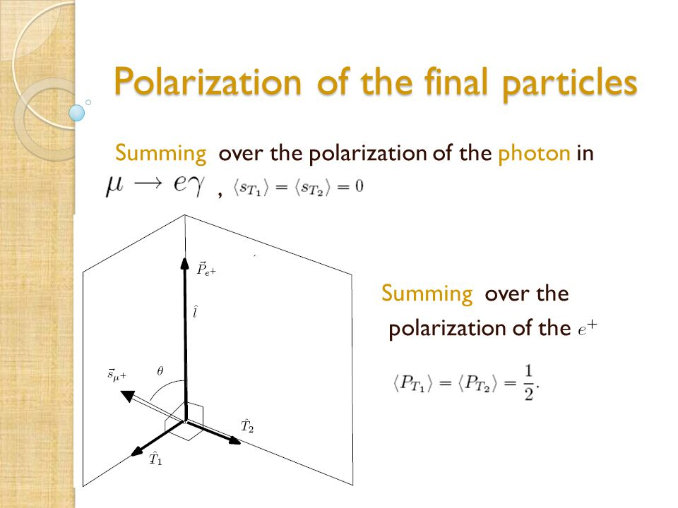 Polarization of the final particles Summing over the polarization of the photon in, Summing over the polarization of the positron