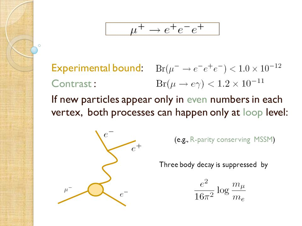 Experimental bound: Contrast : If new particles appear only in even numbers in each vertex, both processes can happen only at loop level: (e.g., R-parity conserving MSSM) Three body decay is suppressed by