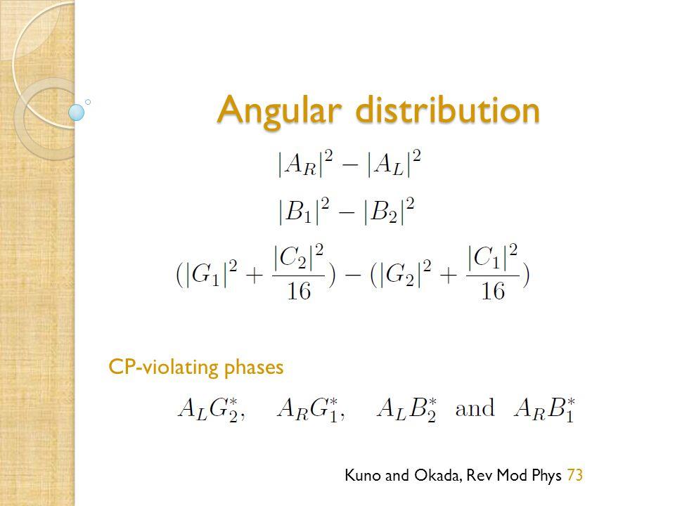 Angular distribution Kuno and Okada, Rev Mod Phys 73 CP-violating phases