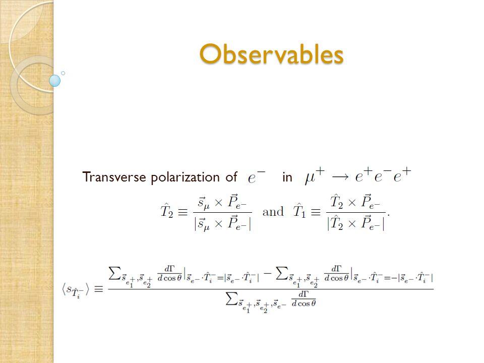 Observables Transverse polarization of in