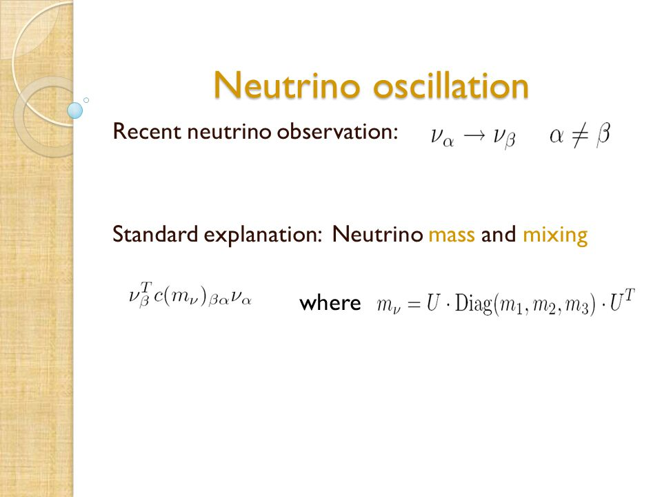 Neutrino oscillation Recent neutrino observation: Standard explanation: Neutrino mass and mixing where