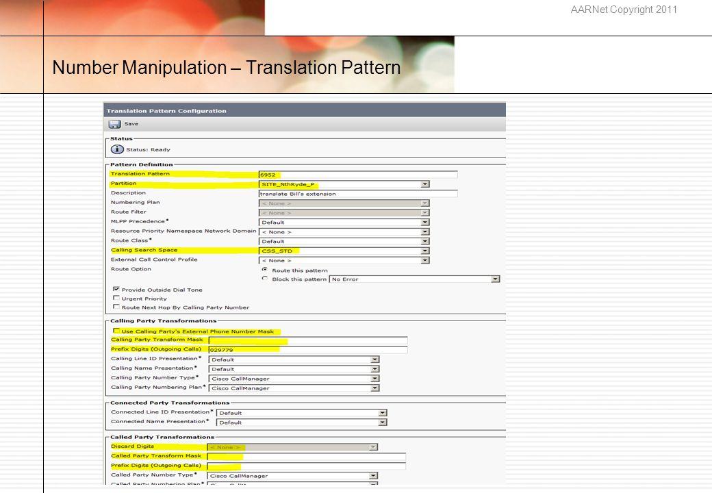 AARNet Copyright 2011 Number Manipulation – Translation Pattern