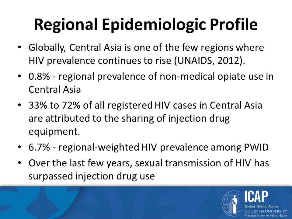Regional Epidemiologic Profile Globally, Central Asia is one of the few regions where HIV prevalence continues to rise (UNAIDS, 2012).
