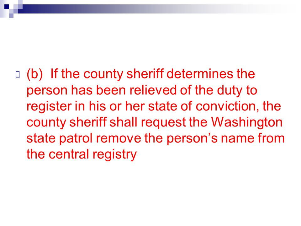  (b) If the county sheriff determines the person has been relieved of the duty to register in his or her state of conviction, the county sheriff shal