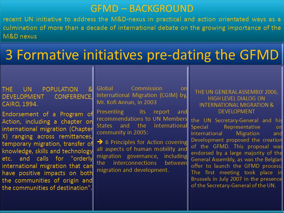 3 Formative initiatives pre-dating the GFMD THE UN POPULATION & DEVELOPMENT CONFERENCE, CAIRO, 1994. Endorsement of a Program of Action, including a c