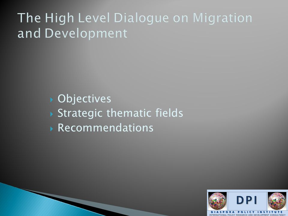 Objectives  Strategic thematic fields  Recommendations
