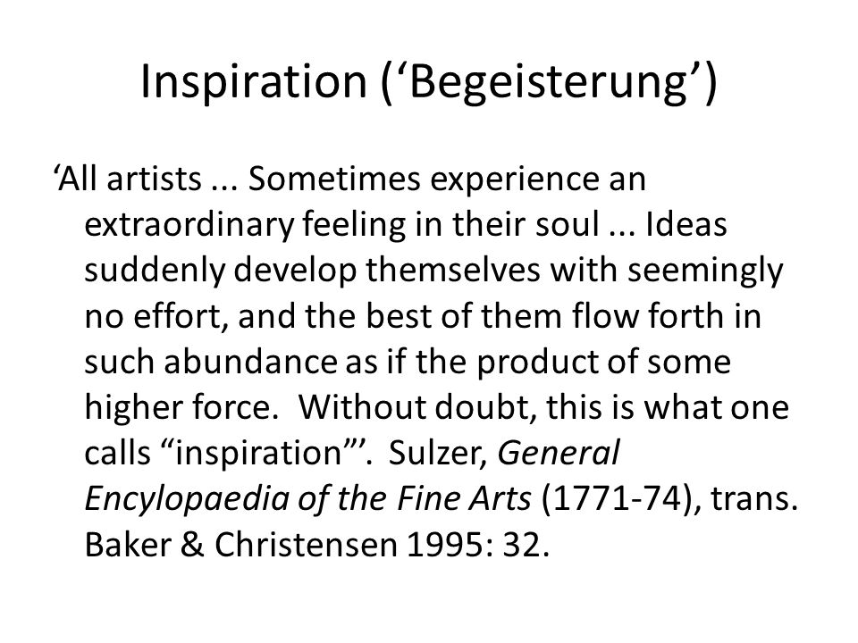Inspiration ('Begeisterung') 'All artists...