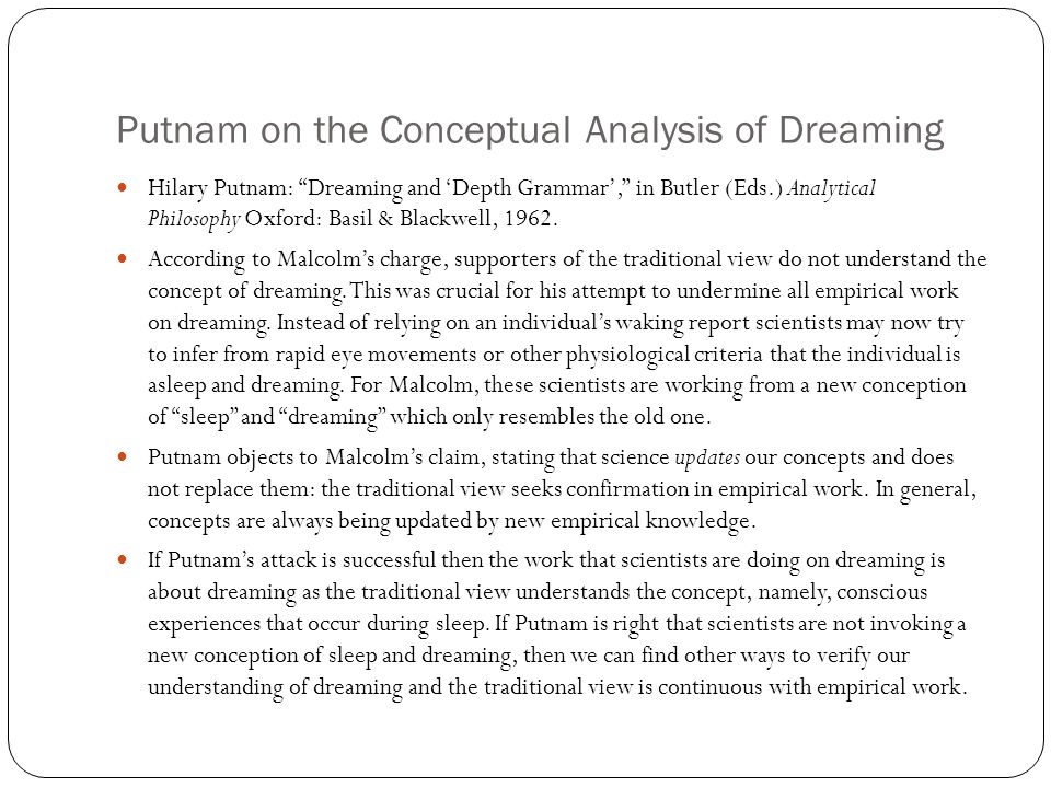 Putnam on the Conceptual Analysis of Dreaming Hilary Putnam: Dreaming and 'Depth Grammar', in Butler (Eds.) Analytical Philosophy Oxford: Basil & Blackwell, 1962.