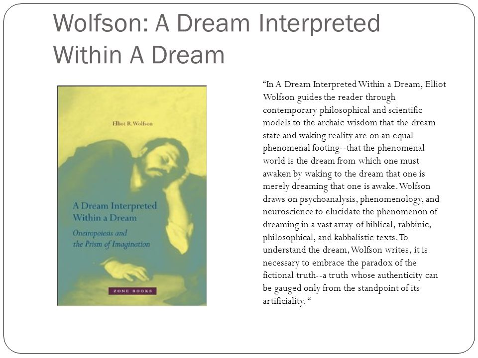 Wolfson: A Dream Interpreted Within A Dream In A Dream Interpreted Within a Dream, Elliot Wolfson guides the reader through contemporary philosophical and scientific models to the archaic wisdom that the dream state and waking reality are on an equal phenomenal footing--that the phenomenal world is the dream from which one must awaken by waking to the dream that one is merely dreaming that one is awake.