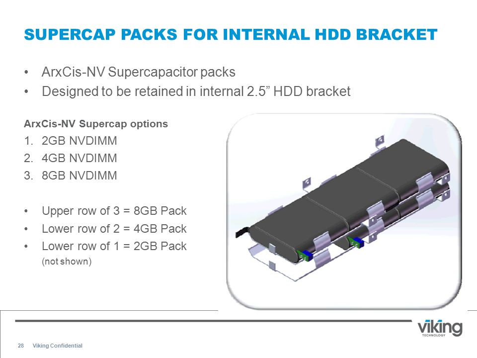 "28 SUPERCAP PACKS FOR INTERNAL HDD BRACKET ArxCis-NV Supercapacitor packs Designed to be retained in internal 2.5"" HDD bracket ArxCis-NV Supercap opti"