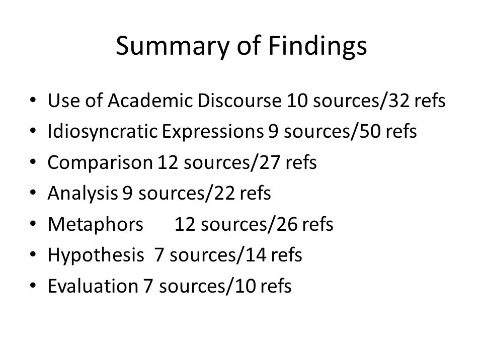 Summary of Findings Use of Academic Discourse 10 sources/32 refs Idiosyncratic Expressions 9 sources/50 refs Comparison 12 sources/27 refs Analysis 9 sources/22 refs Metaphors12 sources/26 refs Hypothesis 7 sources/14 refs Evaluation 7 sources/10 refs