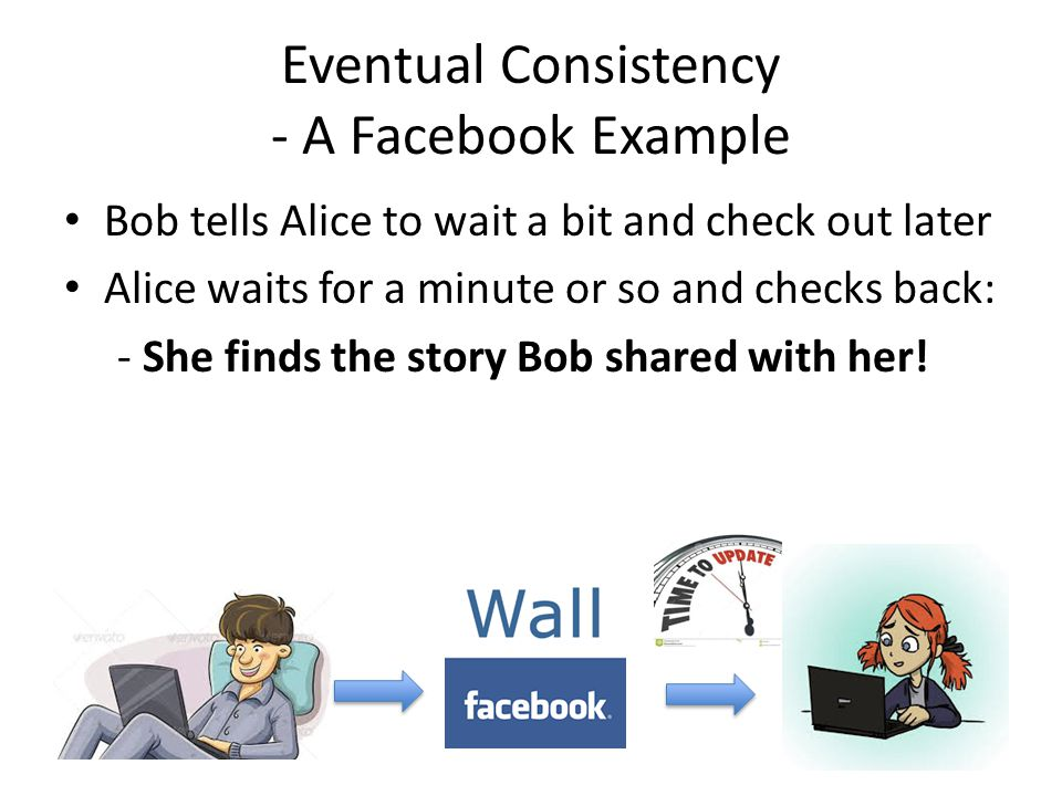 Eventual Consistency - A Facebook Example Bob tells Alice to wait a bit and check out later Alice waits for a minute or so and checks back: - She finds the story Bob shared with her!
