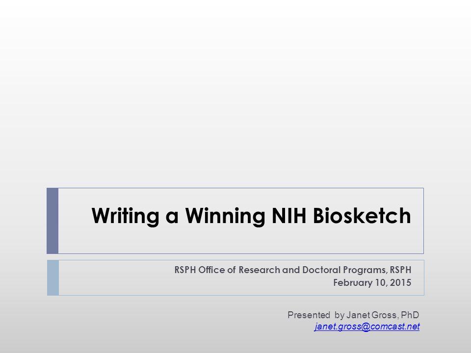 NIH Biographical Sketch c.v.