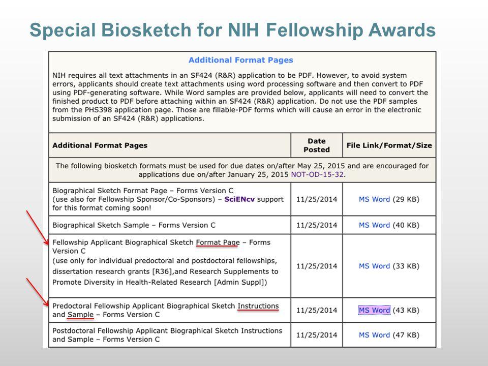 Special Biosketch for NIH Fellowship Awards