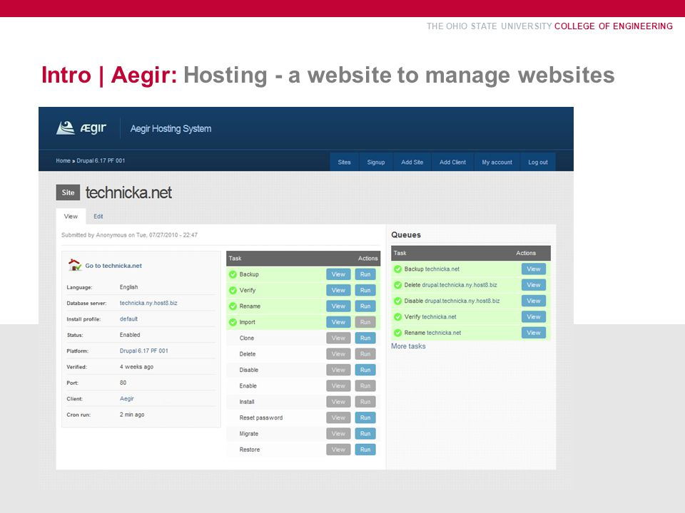 THE OHIO STATE UNIVERSITY COLLEGE OF ENGINEERING Intro | Aegir: Hosting - a website to manage websites