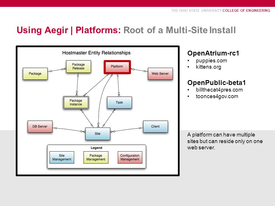 THE OHIO STATE UNIVERSITY COLLEGE OF ENGINEERING Using Aegir | Platforms: Root of a Multi-Site Install OpenAtrium-rc1 puppies.com kittens.org OpenPublic-beta1 billthecat4pres.com toonces4gov.com A platform can have multiple sites but can reside only on one web server.