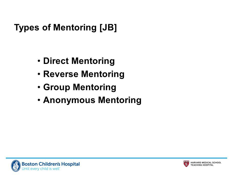 Types of Mentoring [JB] Direct Mentoring Reverse Mentoring Group Mentoring Anonymous Mentoring