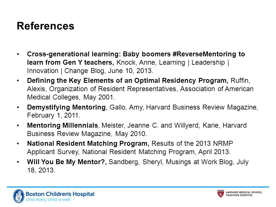 References Cross-generational learning: Baby boomers #ReverseMentoring to learn from Gen Y teachers, Knock, Anne, Learning | Leadership | Innovation | Change Blog, June 10, 2013.