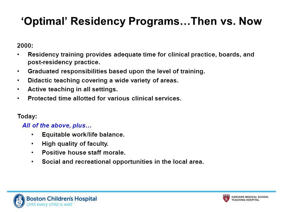 'Optimal' Residency Programs…Then vs.