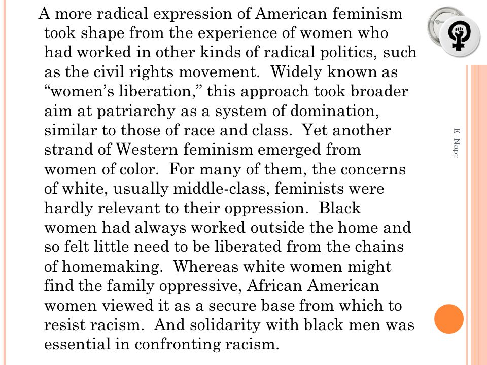A more radical expression of American feminism took shape from the experience of women who had worked in other kinds of radical politics, such as the