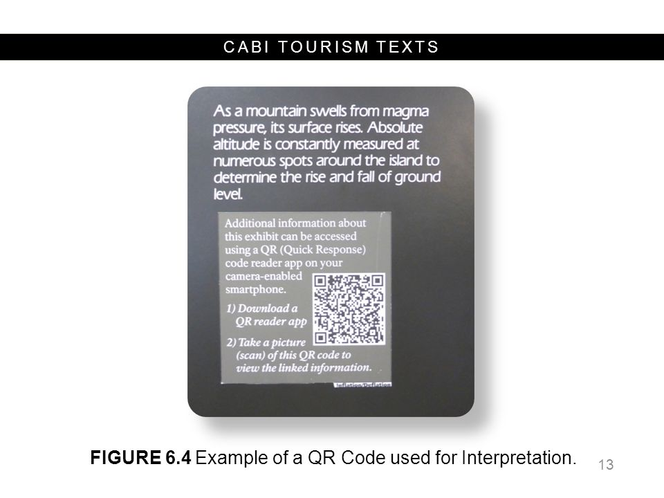 CABI TOURISM TEXTS 13 FIGURE 6.4 Example of a QR Code used for Interpretation.