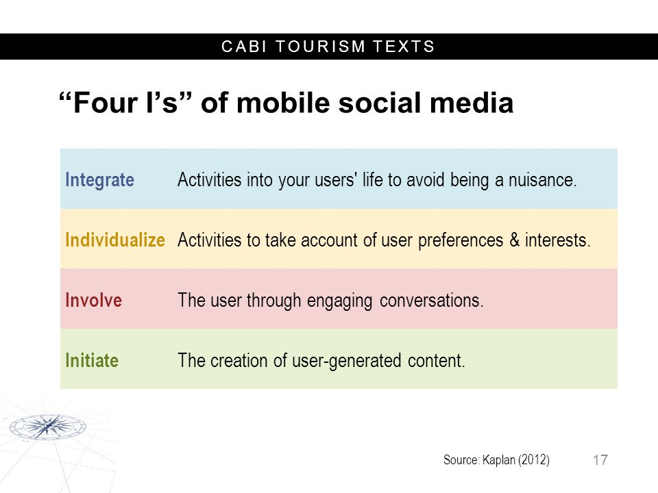 CABI TOURISM TEXTS Integrate Activities into your users' life to avoid being a nuisance. Individualize Activities to take account of user preferences