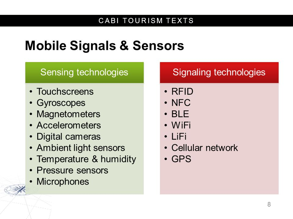 CABI TOURISM TEXTS Mobile Signals & Sensors 8 Signaling technologies RFID NFC BLE WiFi LiFi Cellular network GPS Sensing technologies Touchscreens Gyroscopes Magnetometers Accelerometers Digital cameras Ambient light sensors Temperature & humidity Pressure sensors Microphones