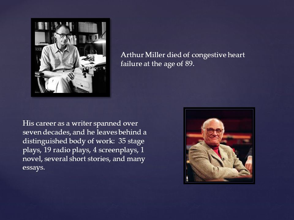 Arthur Miller died of congestive heart failure at the age of 89.