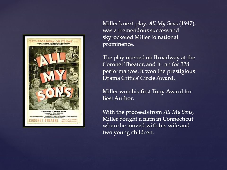 Miller's next play, All My Sons (1947), was a tremendous success and skyrocketed Miller to national prominence.