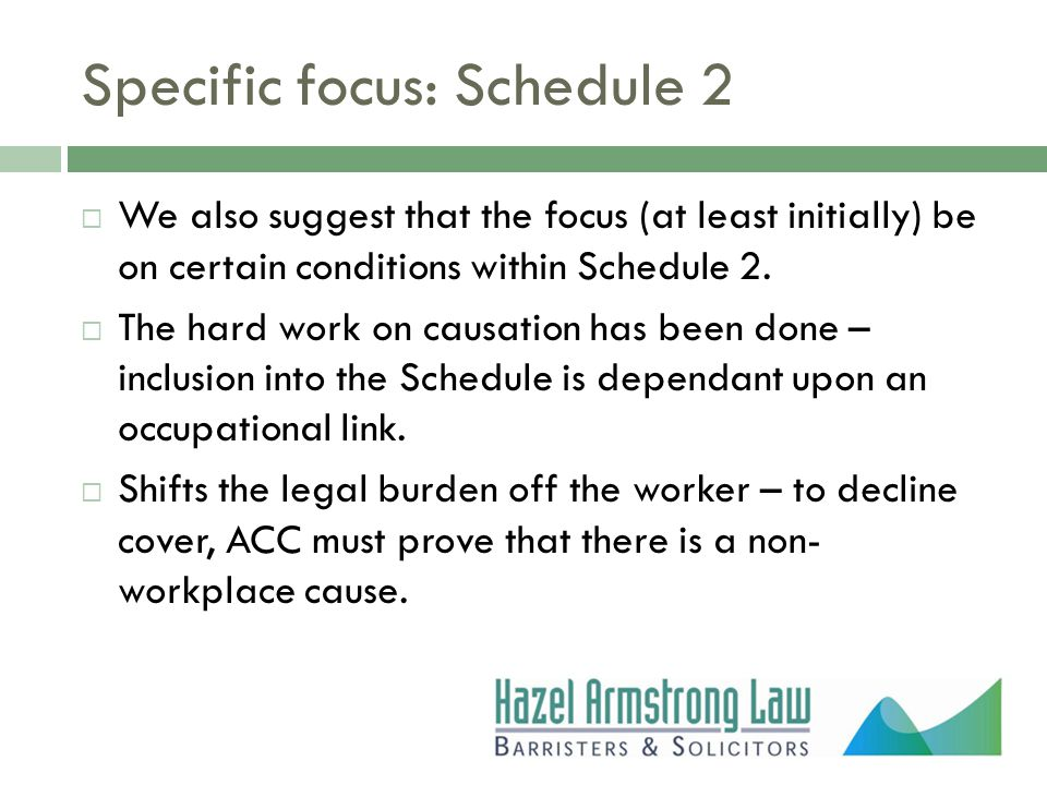 Specific focus: Schedule 2  We also suggest that the focus (at least initially) be on certain conditions within Schedule 2.