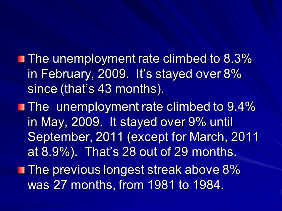 The unemployment rate climbed to 8.3% in February, 2009. It's stayed over 8% since (that's 43 months). The unemployment rate climbed to 9.4% in May, 2