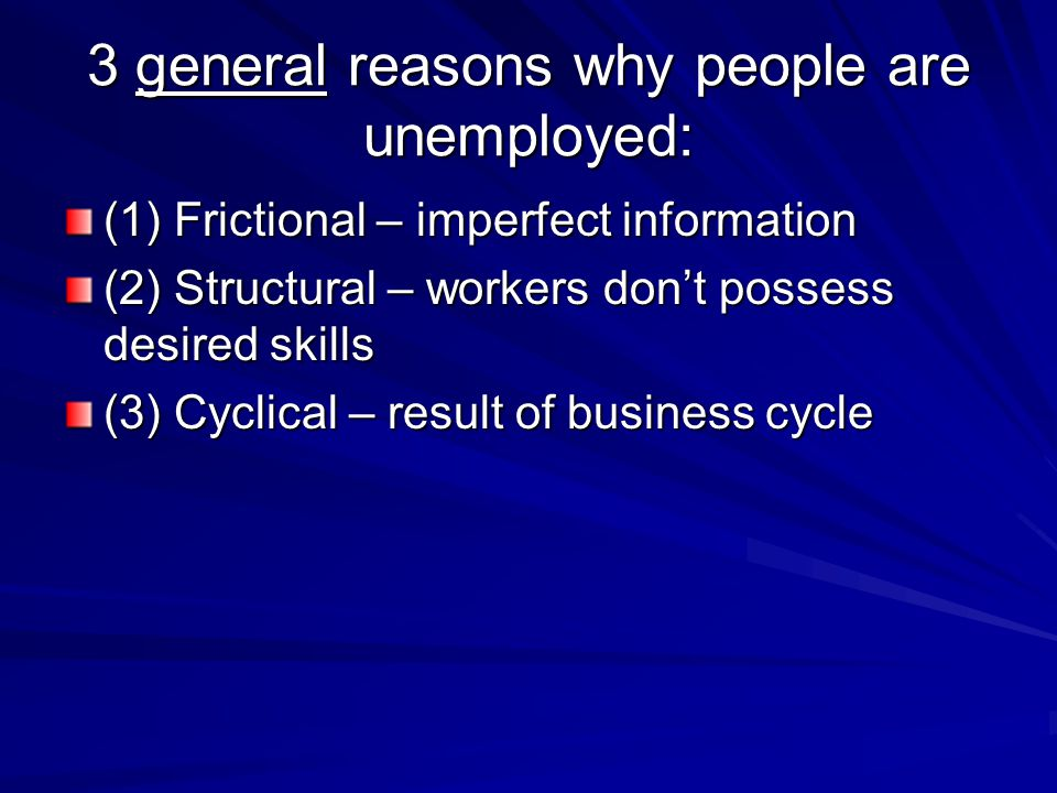 3 general reasons why people are unemployed: (1) Frictional – imperfect information (2) Structural – workers don't possess desired skills (3) Cyclical