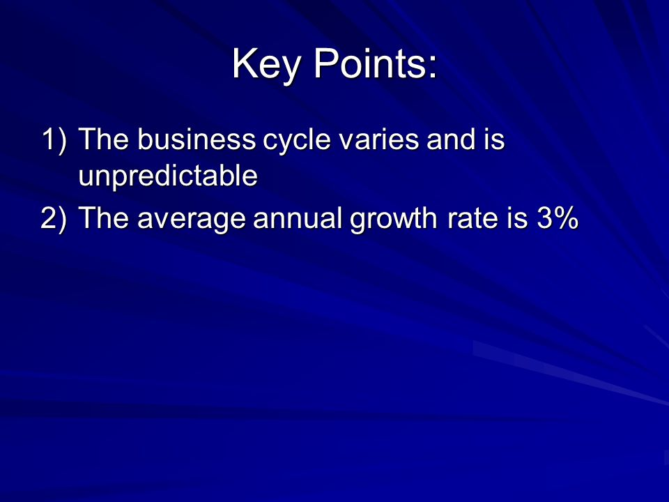 Key Points: 1)The business cycle varies and is unpredictable 2)The average annual growth rate is 3%