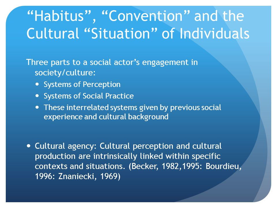 """Habitus"", ""Convention"" and the Cultural ""Situation"" of Individuals Three parts to a social actor's engagement in society/culture: Systems of Percepti"