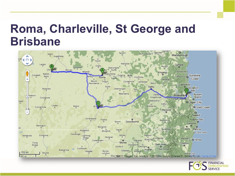 Roma, Charleville, St George and Brisbane