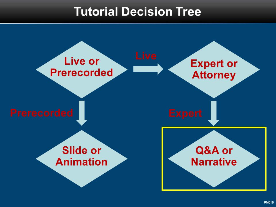 PM015 Tutorial Decision Tree Live or Prerecorded Live Prerecorded Expert or Attorney Slide or Animation Expert Q&A or Narrative