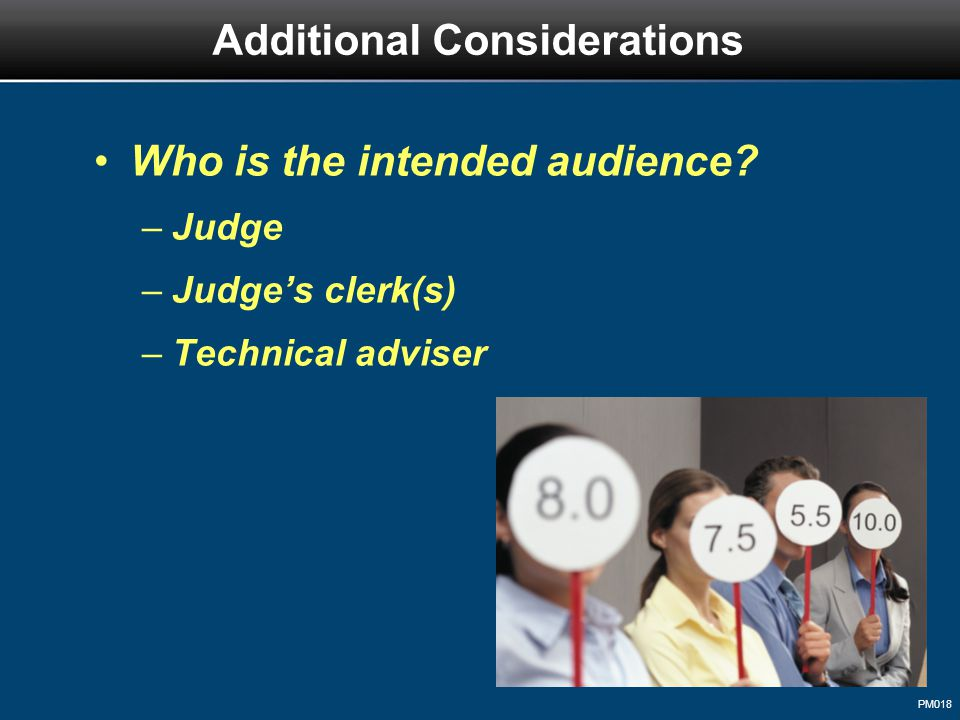 PM018 Who is the intended audience? –Judge –Judge's clerk(s) –Technical adviser Additional Considerations
