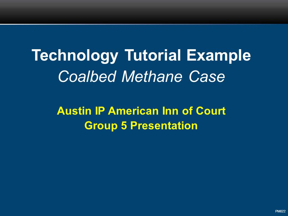 PM022 Technology Tutorial Example Coalbed Methane Case Austin IP American Inn of Court Group 5 Presentation